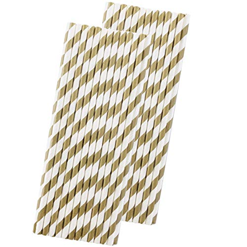 Gold Striped Paper (Striped Paper Straws - Gold White - 7.75 Inches - 50 Pack - Outside the Box Papers)