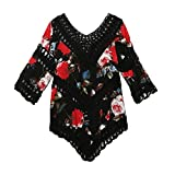 Botrong Free Size Women V Neck Hollow Crochet Floral Printed Casual Beach Clothes Tops (Black)