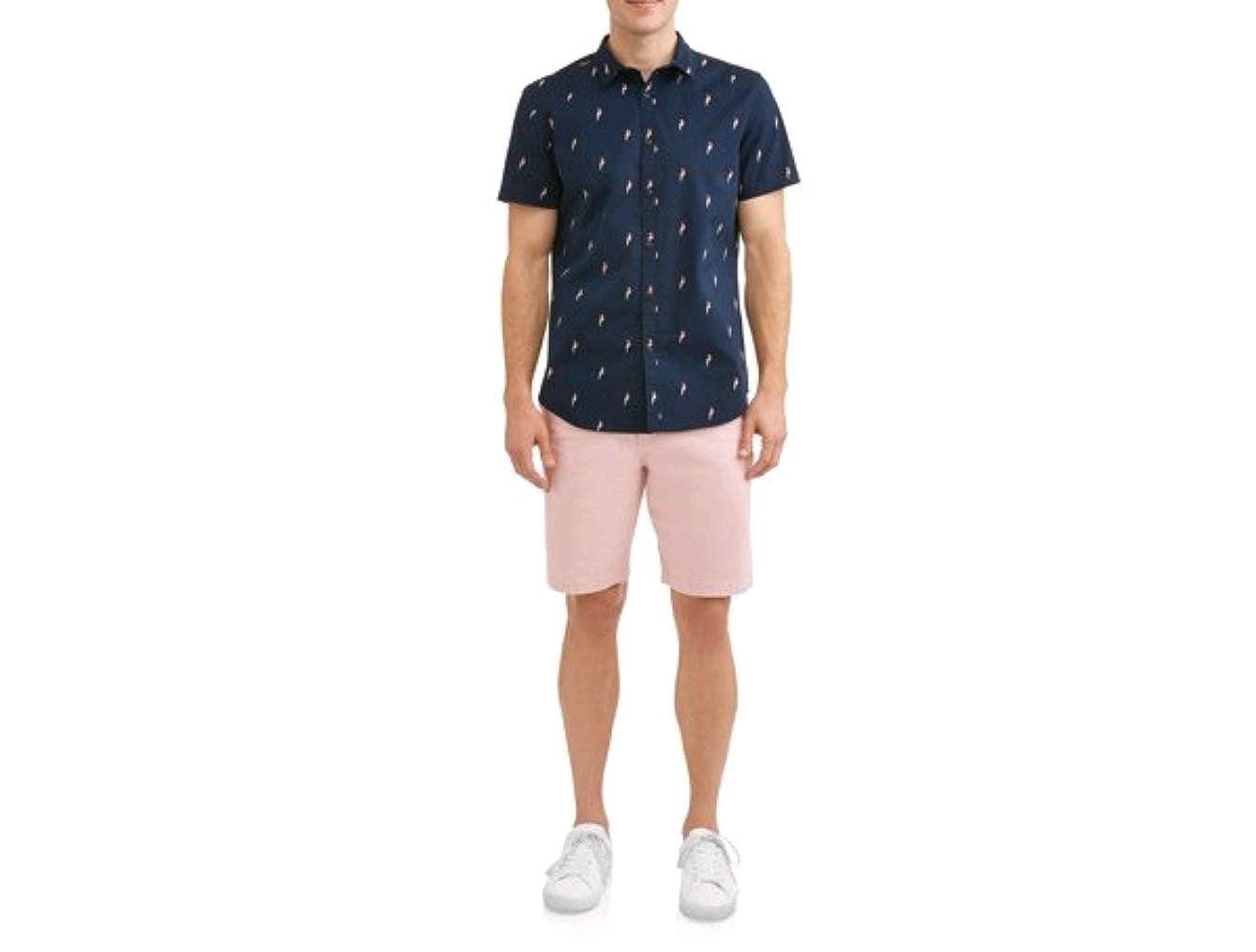Mens Navy Parrot Print Short Sleeve Button Up Woven Shirt