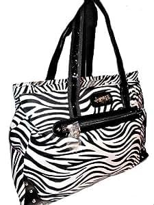 Kathy Van Zeeland Zebra Laptop X-Large Weekender Tote (Black/White)