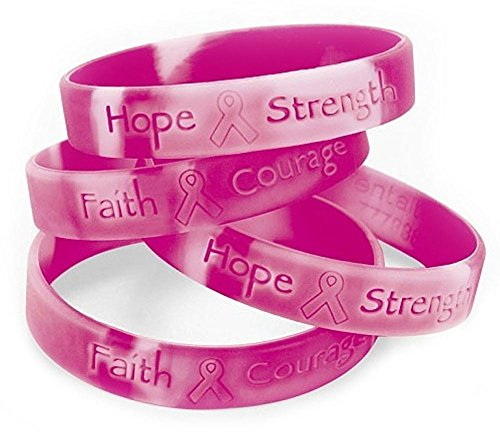 (60 Pink Ribbon Camo Silicone Bracelets Lot Breast Cancer Awareness Favor)