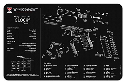 TekMat Glock Gen 4 Cleaning Mat / 11 x 17 Thick, Durable, Waterproof / Handgun Cleaning Mat with Parts Diagram and Instructions / Armorers Bench Mat / Black by TekMat