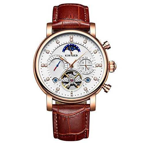 (Swiss Skeleton Tourbillon Automatic Watch, Multi-Function Mechanical Watches Waterproof Diamond-Studded Stainless Steel Leather Bands Wristwatch for Men's (White face + Rose)
