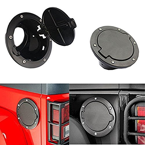 Wiipro Jeep Wrangler Black Gas Tank Cap Cover Door Fuel Filler Door fit for 2007 - 2015 Jeep Wrangler JK & Unlimited - Gas Fuel Tank Cover