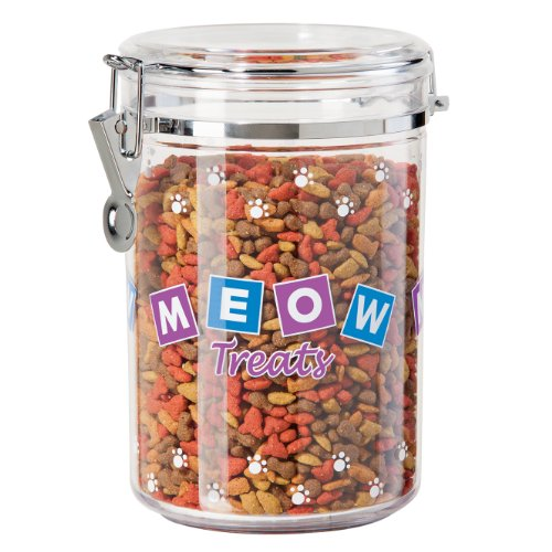 Oggi Acrylic Treat Canister with Meow Treats Design