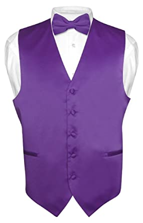 Mens Dress Vest & BowTie Solid PURPLE INDIGO Color Bow Tie ...