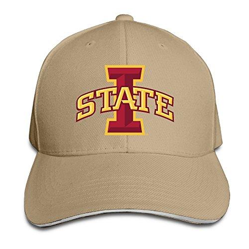 Iowa State Cyclones Logo Natural Adjustable Flat Caps Unisex Sandwich Hats (Football Brown Iowa Hawkeyes)