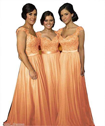 Robes De Demoiselle D'honneur En Dentelle À Mancherons « Fanciest Femmes Longues Robes De Soirée De Mariage Orange