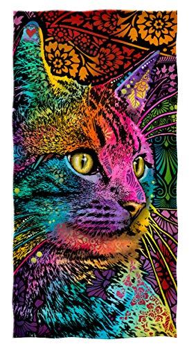 Dawhud Direct Dean Russo Cotton Beach Towel (Mysterio Gaze Cat)