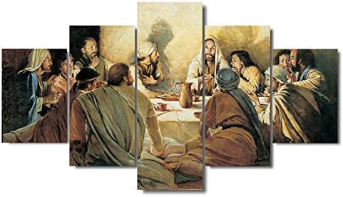 Giclee Print Canvas Poster Wall Art Framework Jesus Abstract Paintings Modular Living Room HD Prints Last Supper Pictures Size 3:16x24inchx2,16x32inchx2,16x40inchx1 Frame