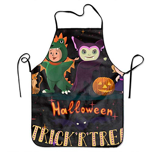 Eartha Tracy Women's Funny Creative Halloween Poster with Kids in Costumes of Witch Print Cooking Aprons ()
