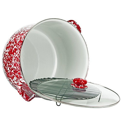 Enamelware - Red Swirl Pattern - 18 Quart Stock Pot with Rack