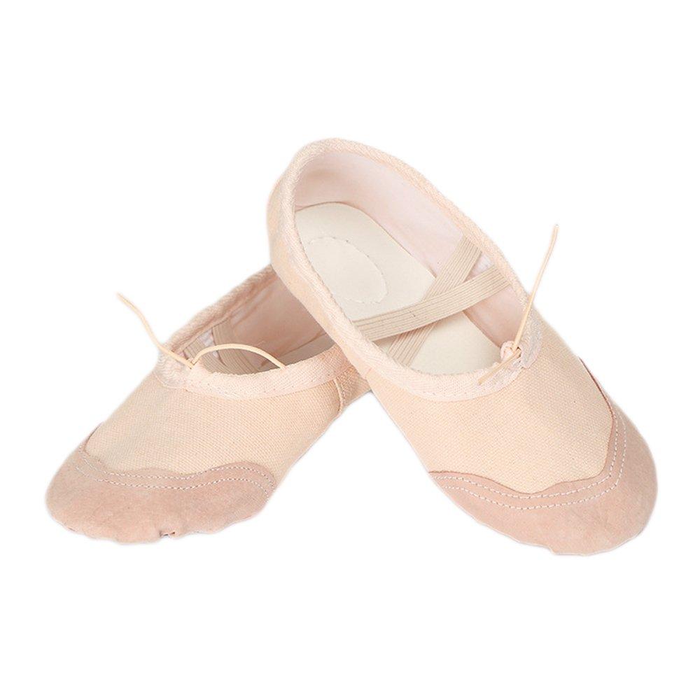 Vococal Chaussures de Ballet pour Filles Femme Demi Pointe Toile Ballet Chaussons Chaussures de Yoga Beige, EU 36/US 6/UK 4