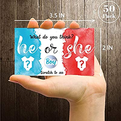 30 Pack Gender Reveal Scratch Off Cards, Gender Announcement Cards to Hand Out, He or She Gender Reveal Party Scratch Off Card - Baby Shower Game, It's a Boy.: Health & Personal Care