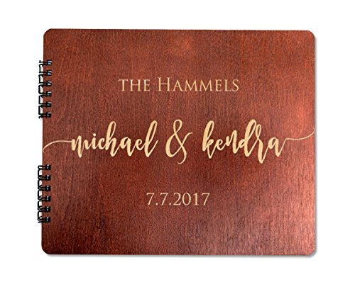 "Wooden Wedding Guest Book ( 8.5""x 7"" Mahogany Stain) Personalized Wood Rustic Charm Engraved for Bride and Groom Vintage Monogrammed Unique Anniversary Bridal Guest Registry Guestbook Made in USA"