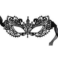 Máscara de lujo Impresionante Máscara de Mascarada de Encaje Negro Todo de Ana.