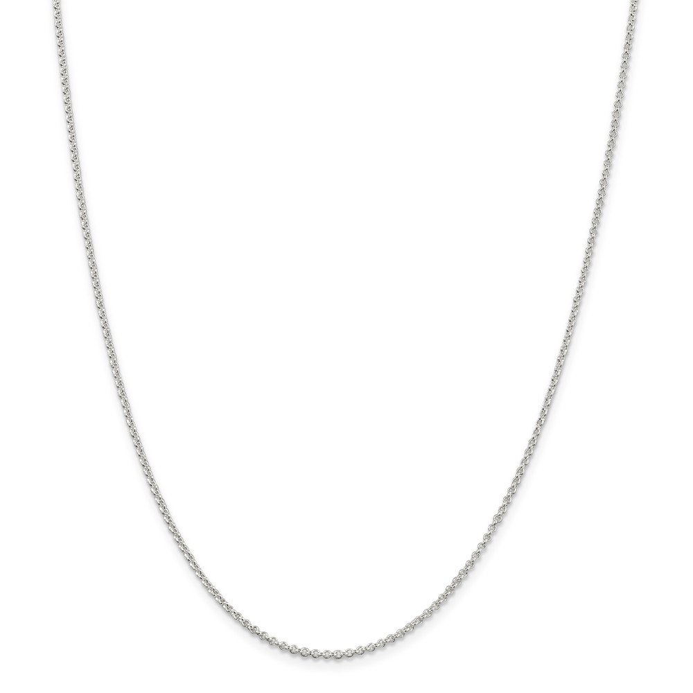 Brilliant Bijou Solid .925 Sterling Silver Rhodium-Plated 1.5mm Rolo Chain 18 inches