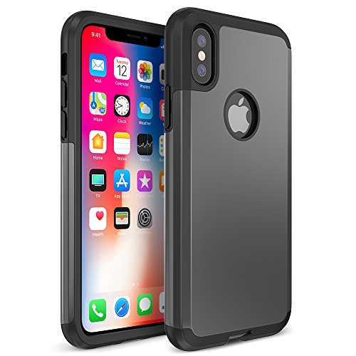 TETHYS Protanium Series Case Designed for iPhone XS / iPhone X - Heavy Duty / Reinforced Protection /Shock Absorption/Scratch Resistant Phone Cover for iPhone XS / iPhone X (TT000053) - Gunmetal