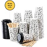 80 Paper Cups Coffee To Go - 12 Ounces Coffee Cups with Lids and Wooden Stirrers for Serving Coffee, Tea, Hot and Cold Drinks