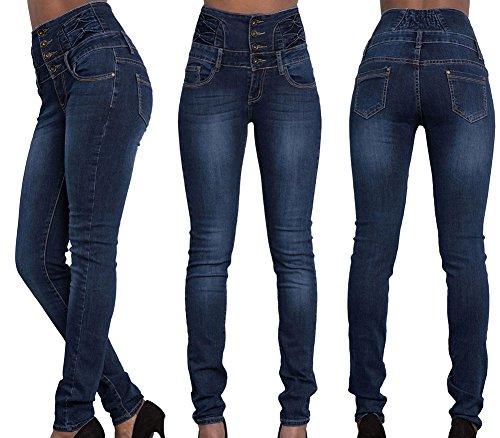 Scothen Polainas de verano Denim Blue Stretch Leggings Vaqueros ajustados apenado cremallera de la cremallera de gran altura Treggings de las mujeres de las señoras pantalones los pantalones Navy