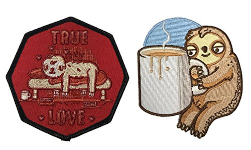 Hat Shark Randy Otter Good Morning Coffee Sloth & Randy Otter True Love Sloth Sloth in Bed - Set of 2 Iron On Patch Applique