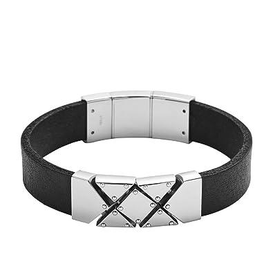 7a7273af59160 Amazon.com: Diesel Men's Biker Leather Cuff Bracelet: Jewelry