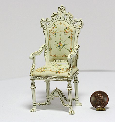 Dollhouse Miniature Elegant Ornate Hand Painted Arm Chair in Cream and Gold (Painted Cream)