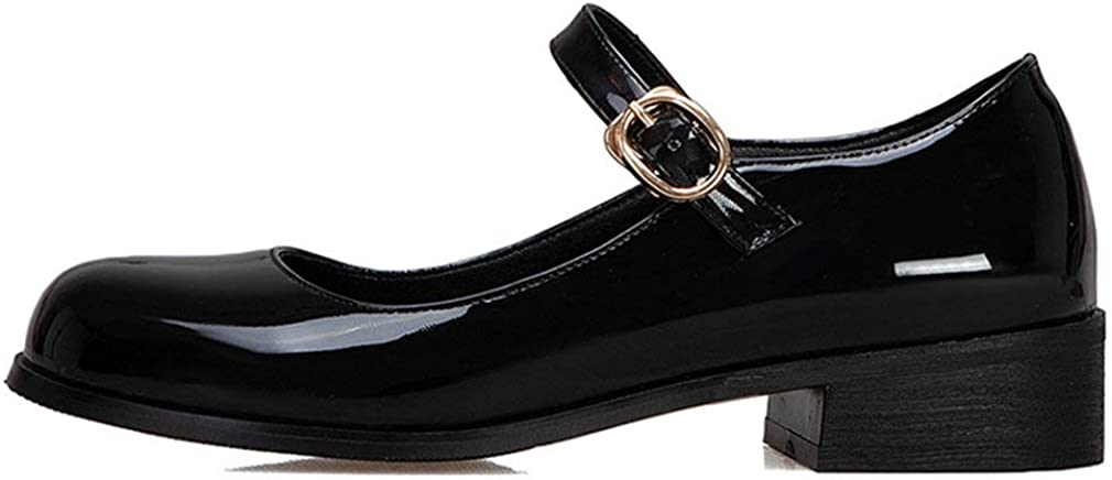 Caradise Womens Patent Leather Mary Janes Low Heel School Uniform Dress Shoes