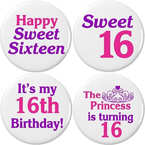 Sweet Magnet 16 (Set 4 Happy Sweet Sixteen 16 Birthday 2.25