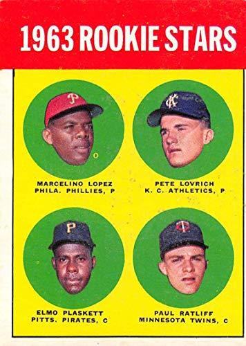 - Baseball MLB 1963 Topps #549 Marcelino Lopez/Pete Lovrich/Elmo Plaskett/Paul Ratliff 1963 Rookie Stars EX RC Rookie