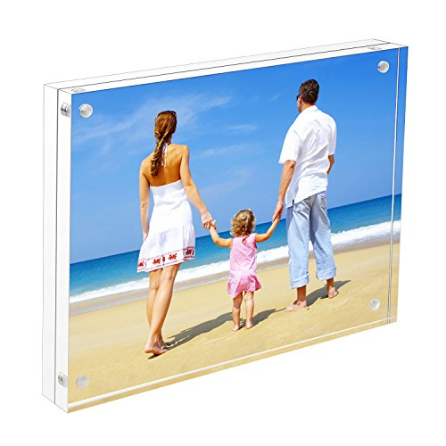 - 8x10 Acrylic Picture Frame, Clear 15 + 15MM Thickness Magnetic Double Sided Frameless Desktop Photo Display with Gift Box Package