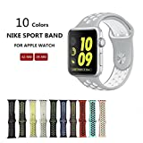 Kobwa Soft Silicone Nike and Sport Style Replacement Band For Apple Watch Series 1 and 2, (38mm grey+white)