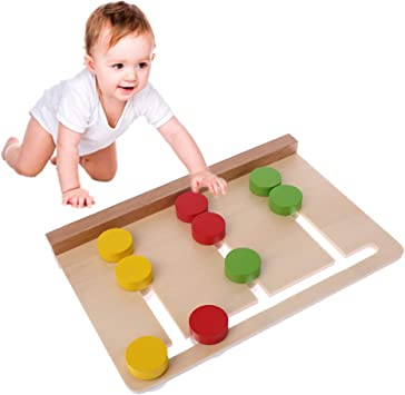 Wooden Montessori 3 Colors Sorting Array Game Preschool Early Educational Toys