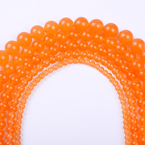 Natural Round Jade Loose Stone Beads Bulk For Jewelry Making 4MM, 6MM, 8MM, 10MM ,12MM (8MM, orange red)