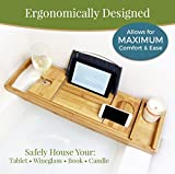 Bella Vitae Brands Beautiful Natural Bamboo Bath Caddy with Ergonomic Wine Glass, Book, Tablet and Smart Phone holders for Luxury and Elegant Bathtime comfort