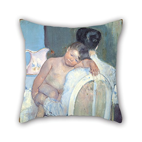 Throw Pillow Covers 18 X 18 Inches / 45 By 45 Cm(each Side) Nice Choice For Coffee House,valentine,kitchen,gf,kids,family Oil Painting Mary Cassatt - Woman Sitting With A Child In Her Arms (Steering Arm Post)