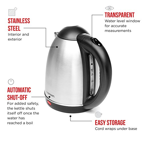 Chefman cordless electric kettle stainless steel premium for Kitchen 17 delivery