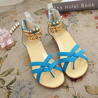LvYuan Tacón Plano-Confort-Sandalias-Vestido Informal-Tejido-Multicolor Blue