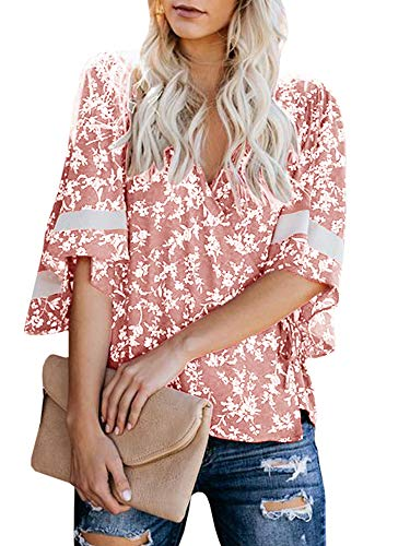 Womens Kimono Wrap Tops V Neck 3/4 Sleeve Shirts Floral Tie Knot Chiffon Blouses Pink