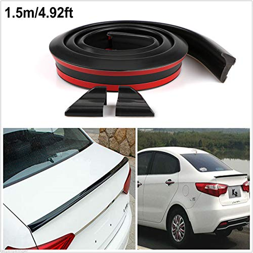 ALAVENTE Universal 4.9ft/1.5M Car Rear Roof Trunk Spoiler, Rubber Strip Bar Wing Lip Trim Tailfin Tail Sticker Kit for Car Truck