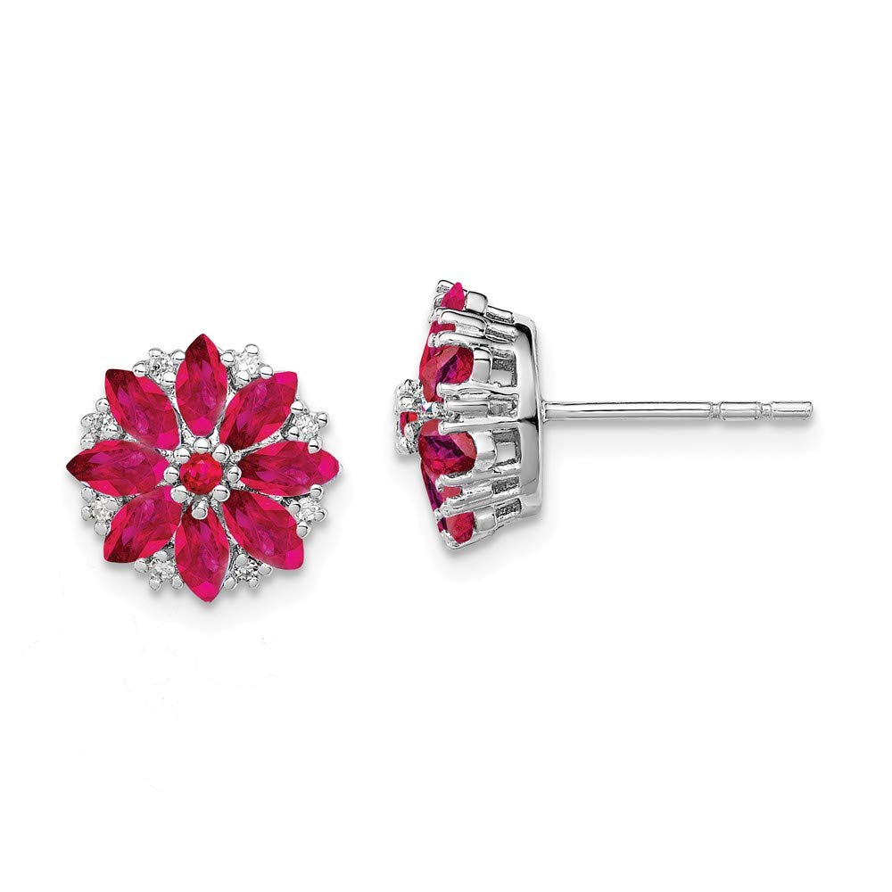 Mia Diamonds 925 Sterling Silver Diamond and Composite Simulated Ruby Earrings 10mm x 10mm