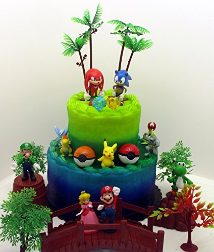 Video Gaming Themed Birthday Cake Topper Set Featuring Random SONIC Figures, Random POKEMON Figures, Random SUPER MARIO Figures and Decorative Themed Accessories