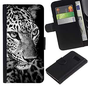 Paccase / Billetera de Cuero Caso del tirón Titular de la tarjeta Carcasa Funda para - Leopard Black White Curious Animal - Samsung Galaxy S6 SM-G920