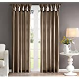 1 Piece 84 Inch Taupe Color Twisted Tab Window Curtain Single Panel, Dark_brown Deep Fold Twist Rich