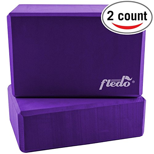 Fledo Yoga Blocks (Set of 2) 9″x6″x4″ – Eco-friendly EVA Foam Brick, Featherweight and Comfy – Provides Stability and Balance – Ideal for Exercise, Pilates, Workout, Fitness & Gym (Purple)