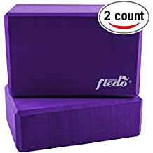 """Fledo Yoga Blocks (Set of 2) 9""""x6""""x4"""" - Eco-friendly EVA Foam Brick, Featherweight and Comfy - Provides Stability and Balance - Ideal for Exercise, Pilates, Workout, Fitness & Gym"""