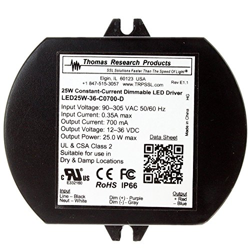 Thomas LED25W-36-C0700-D Constant Current Dimmable LED Driver, 700mA, 12-36VDC