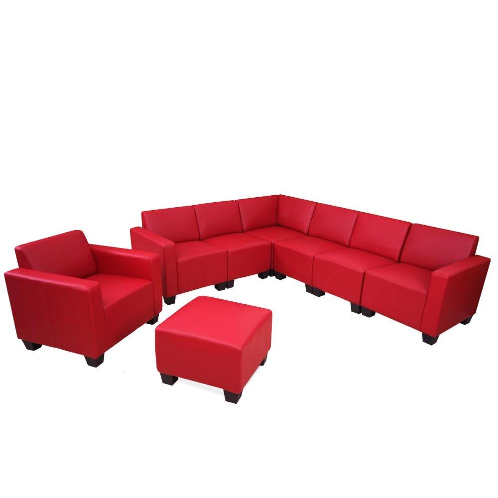 Modular Sofa-System Couch-Garnitur Lyon 6-2, Kunstleder ~ rot