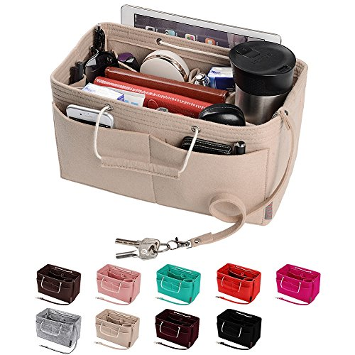 (Purse Organizer, Multi-Pocket Felt Handbag Organizer, Purse Insert Organizer with Handles, Medium, Large (Medium-1, Beige))