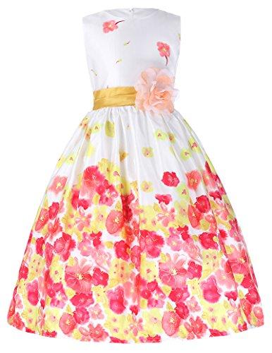 Grace Karin Girls Party Dress Lavender Flower Print Sundress Orange 6 7 Years